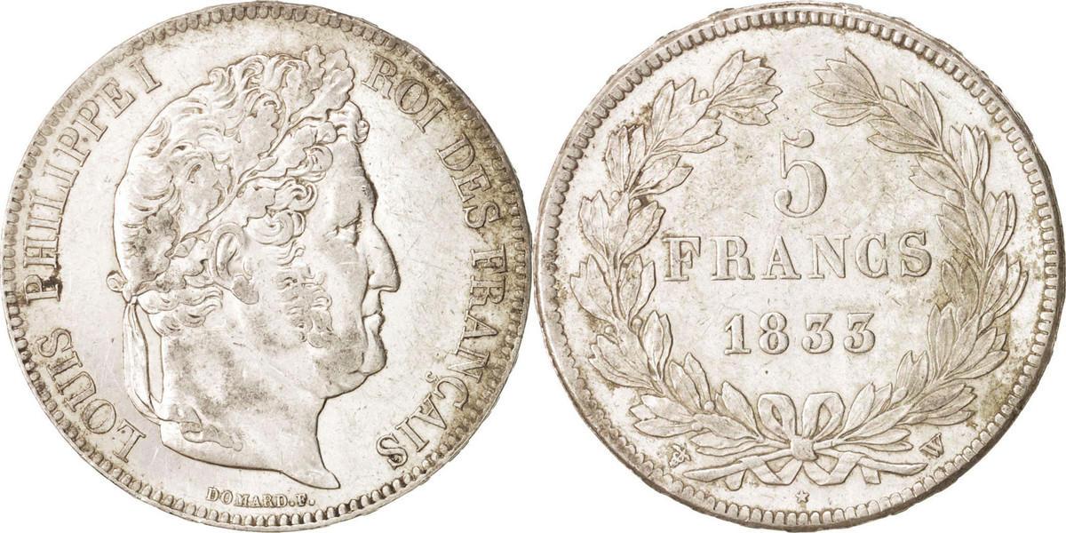 5 Francs 1833 W Frankreich Louis-Philippe AU(55-58)