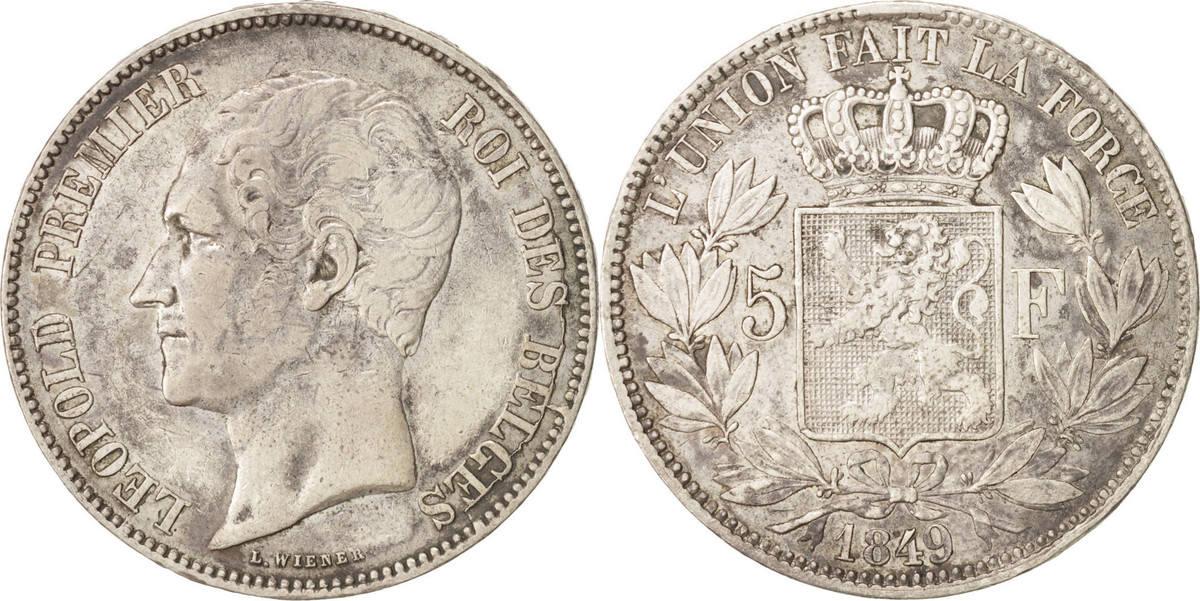 5 Francs, 5 Frank 1849 Brussels Belgien Leopold I VF(30-35)