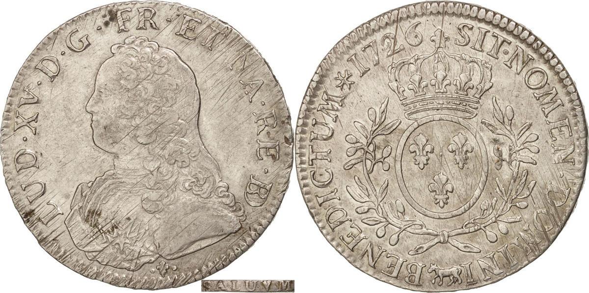 Ecu 1726 Pau Frankreich Écu de Béarn aux branches d'olivier Louis XV AU(50-53)