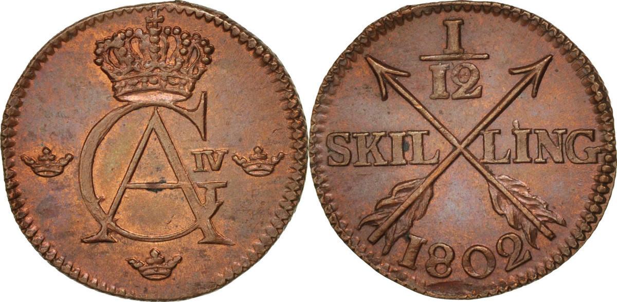 1/12 Skilling 1802 Schweden Gustaf IV Adolf MS(60-62)
