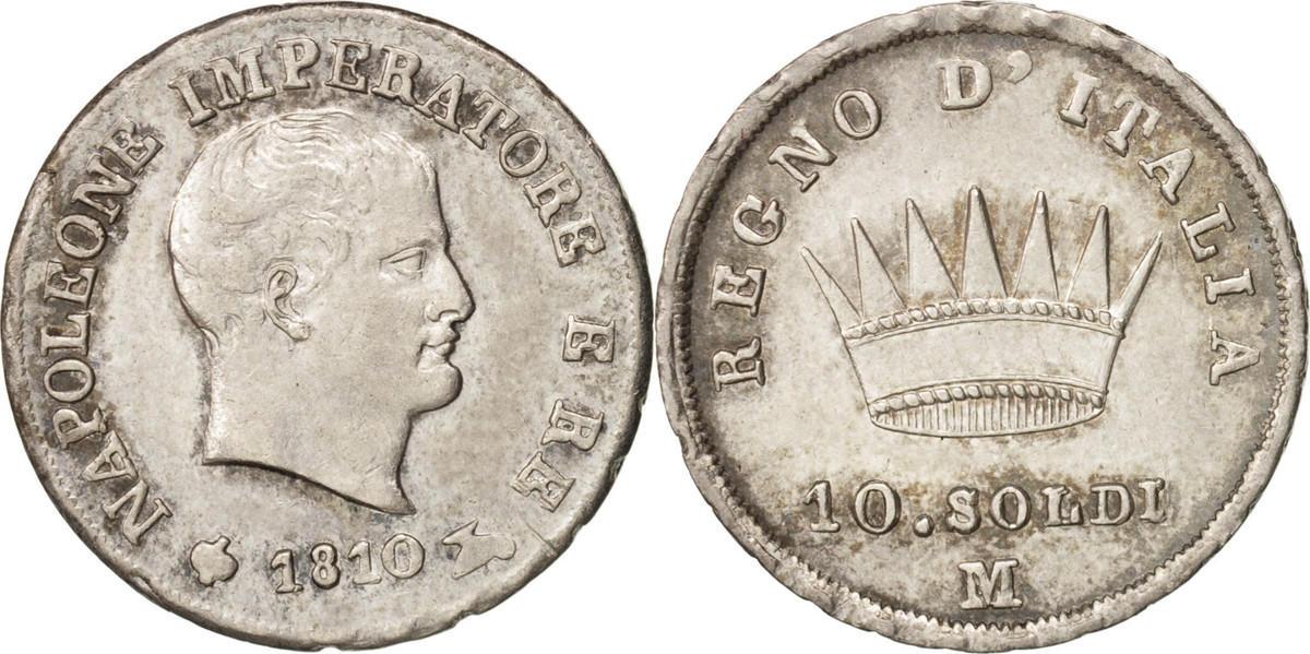 10 Soldi 1810 M Italien Staaten Napoleon I, Milan, KM:6.1 VZ+