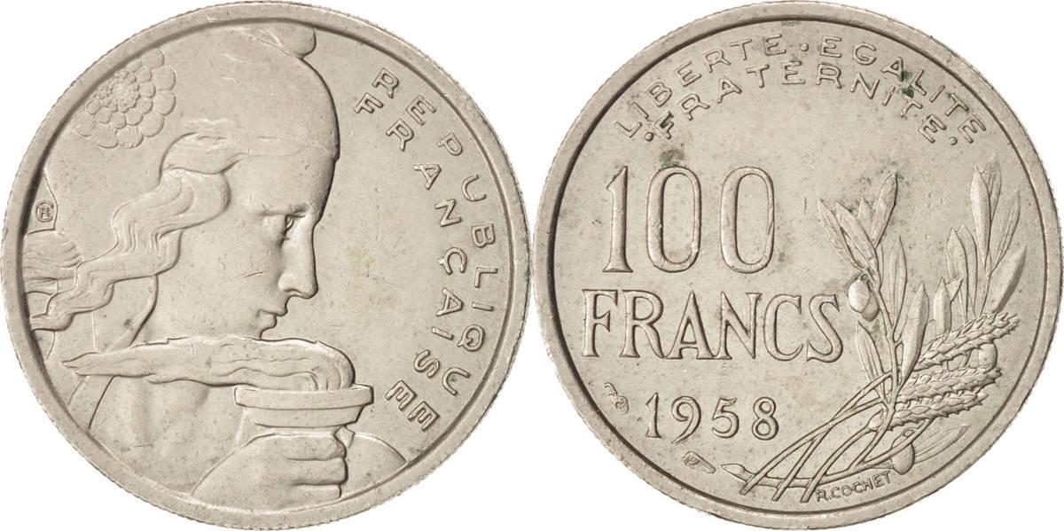 100 Francs 1958 Frankreich Cochet, Copper-nickel, KM:919.1, Gadoury:897 SS