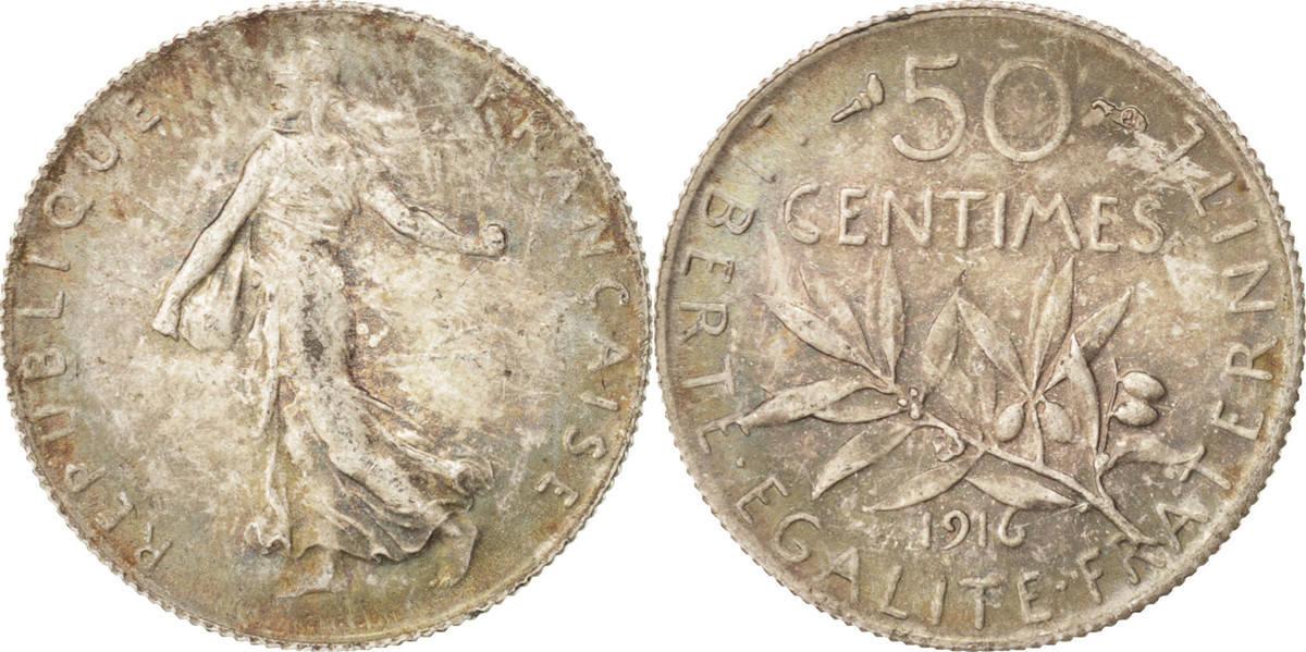 50 Centimes 1916 Paris Frankreich Semeuse, Silber, Toned, KM:854 VZ+