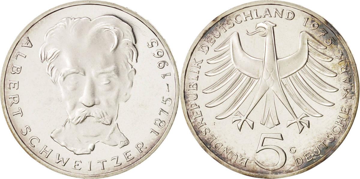 5 Mark 1975 G Bundesrepublik Deutschland Karlsruhe, Germany, STGL, Silber, K... STGL