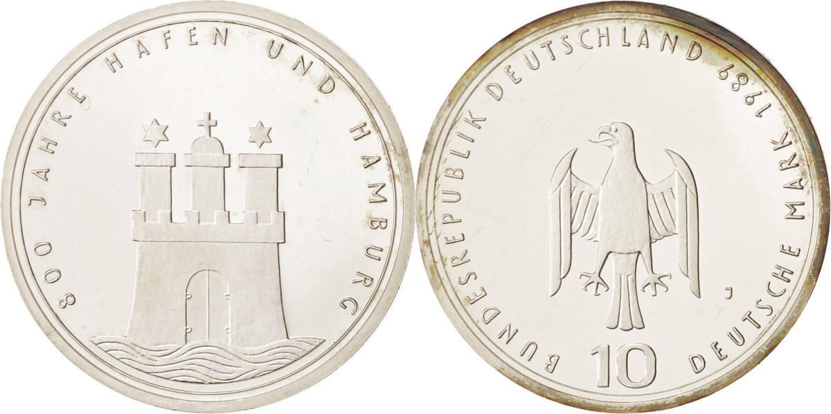 10 Mark 1989 J Bundesrepublik Deutschland Hamburg, Germany, Silber, KM:171 UNZ+