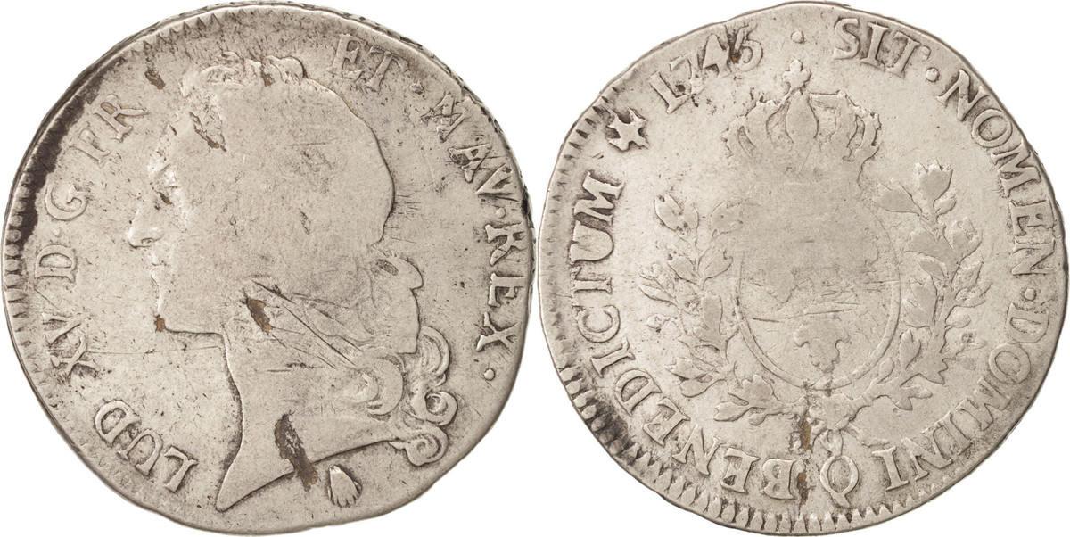 Ecu 1745 Q Frankreich Louis XV, Écu au bandeau, Perpignan, Silber, KM:512.1... S