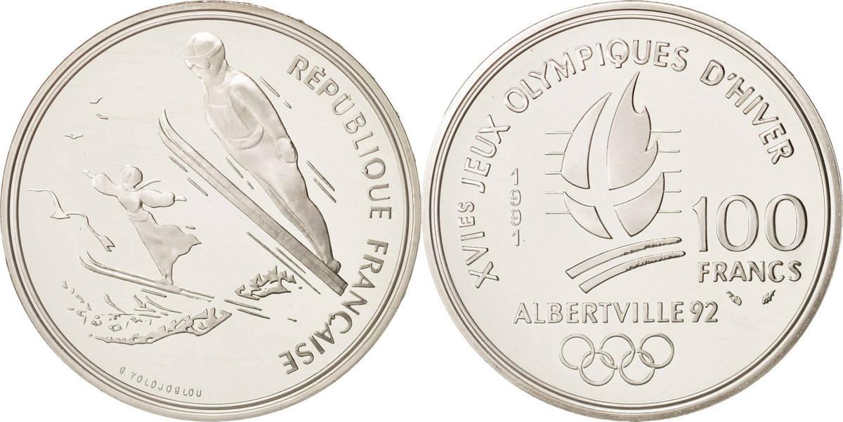 100 Francs 1991 Frankreich Albertville, Ski jumpers, KM:995 STGL