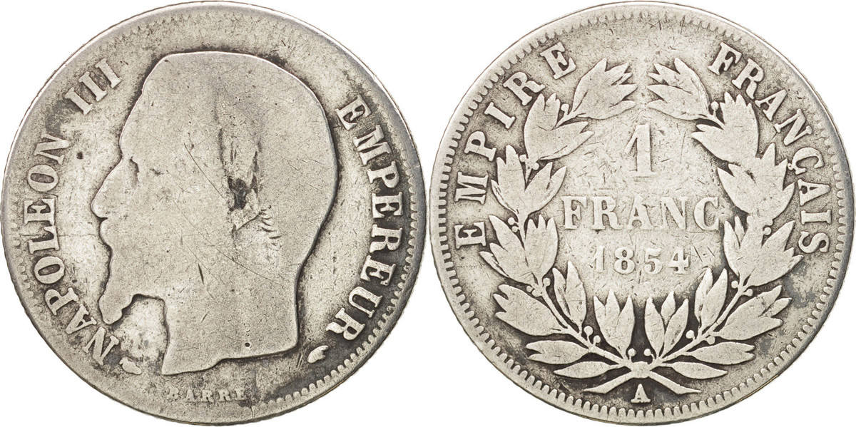 Franc 1854 A Frankreich Napoléon III Napoleon III VG(8-10)