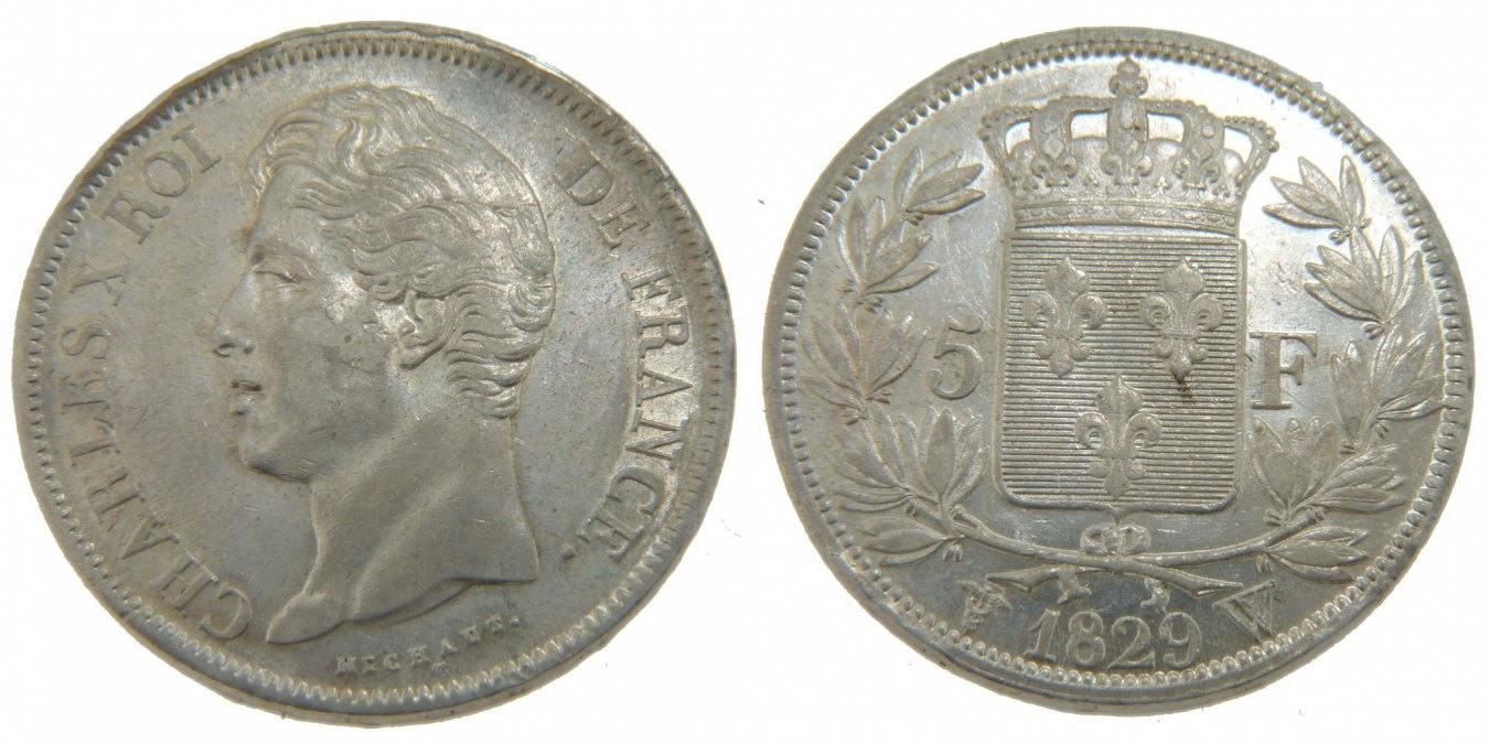 5 Francs 1829 W Frankreich Charles X EF(40-45)