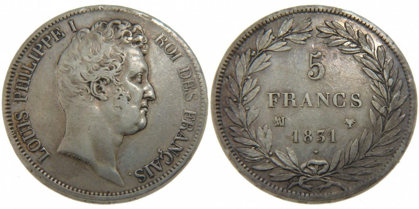 5 Francs 1831 MA Frankreich Louis-Philippe VF(30-35)