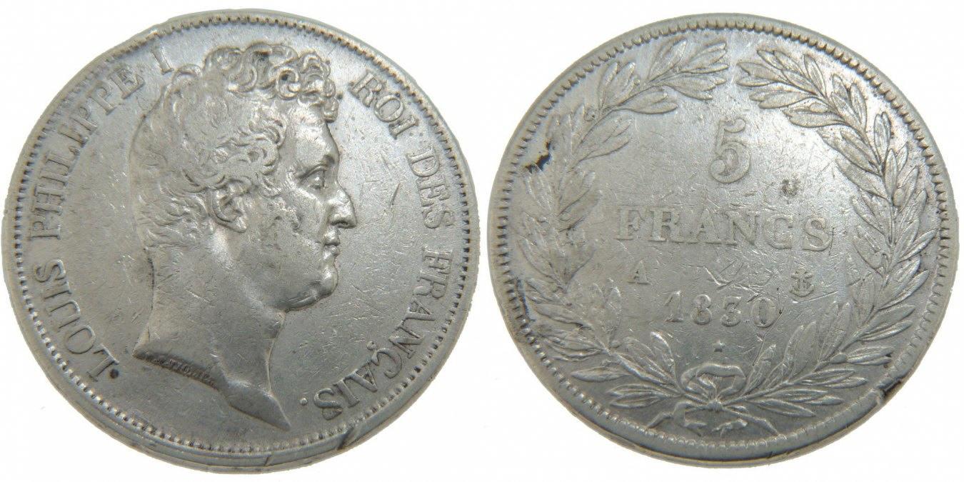 5 Francs 1830 A Frankreich Louis-Philippe VF(30-35)