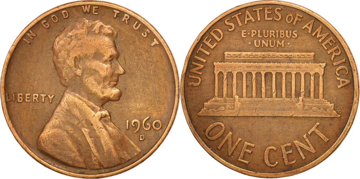 Cent 1960 D Vereinigte Staaten Lincoln Cent EF(40-45)