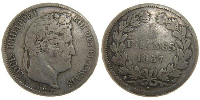 5 Francs 1837 MA Frankreich Louis-Philippe VF(30-35)