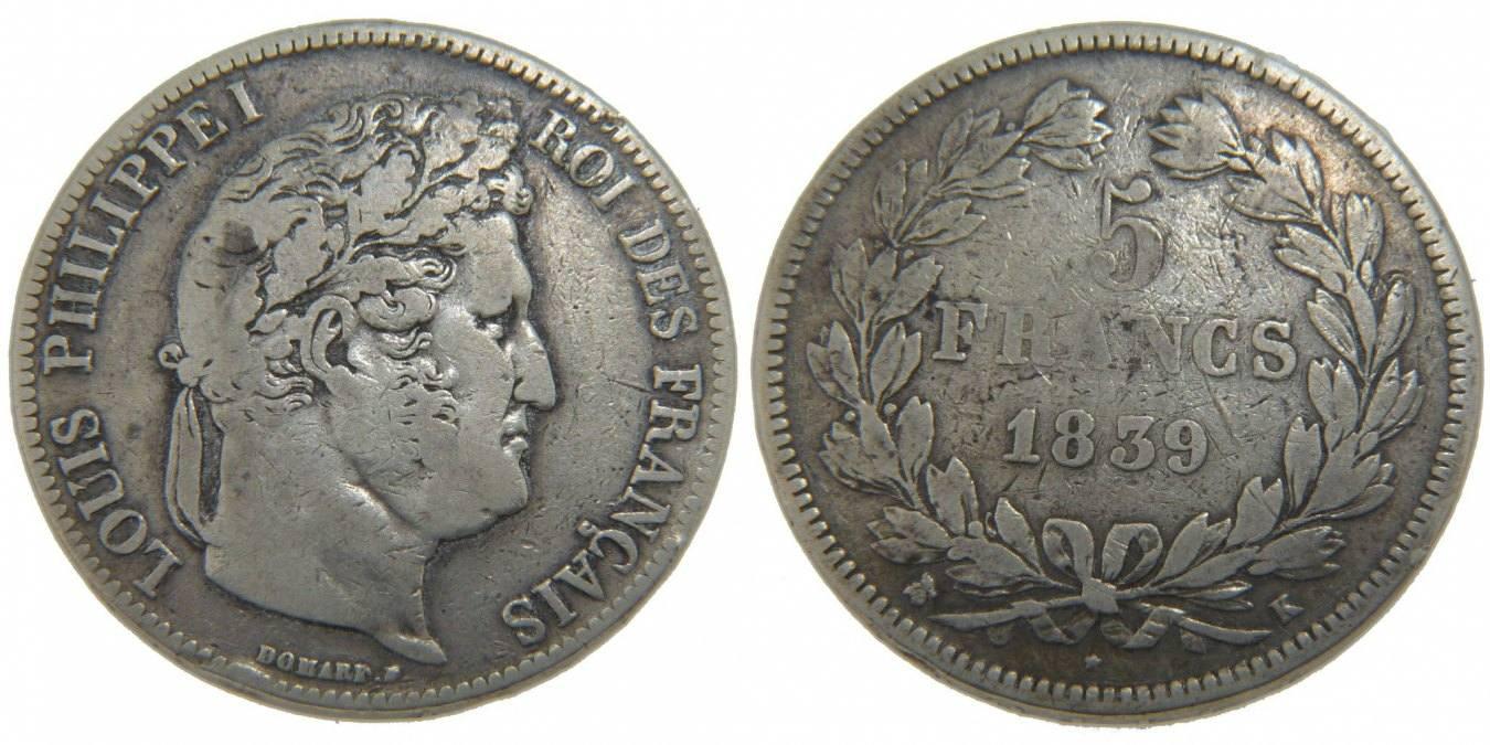 5 Francs 1839 K Frankreich Louis-Philippe VF(30-35)