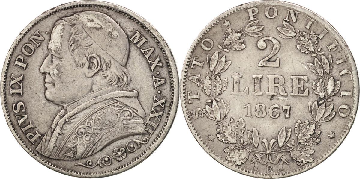 2 Lire 1867 R Italien Staaten Pius IX EF(40-45)