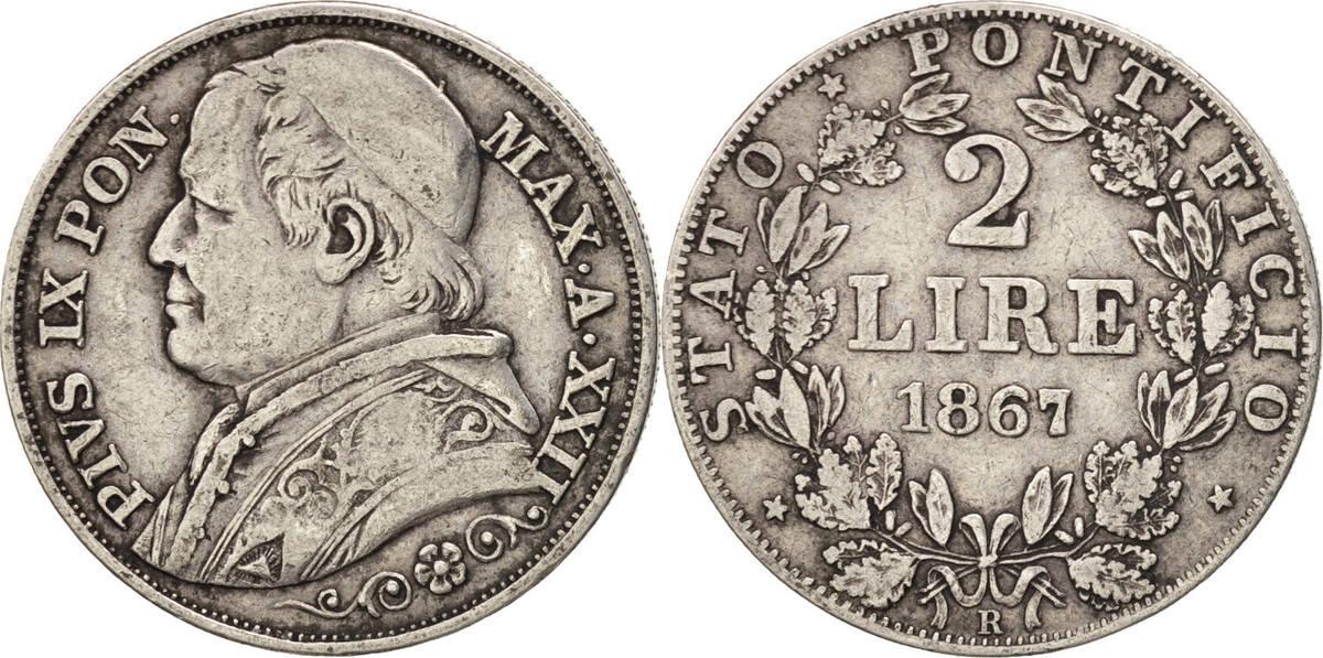 2 Lire 1867 R Italien Staaten Pius IX VF(30-35)