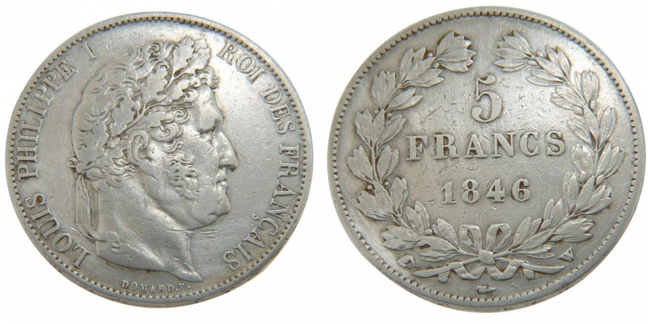 5 Francs 1846 W Frankreich Louis-Philippe VF(30-35)
