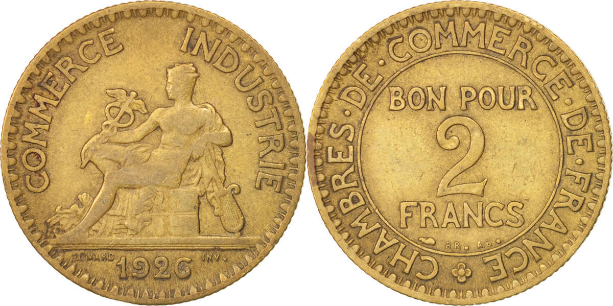2 Francs 1926 Paris Frankreich French Chamber of Commerce Chambre de commerce EF(40-45)