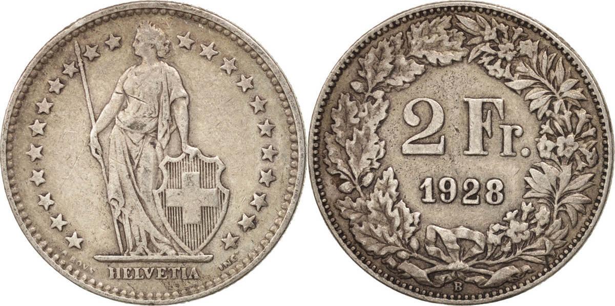 2 Francs 1928 B Schweiz EF(40-45)