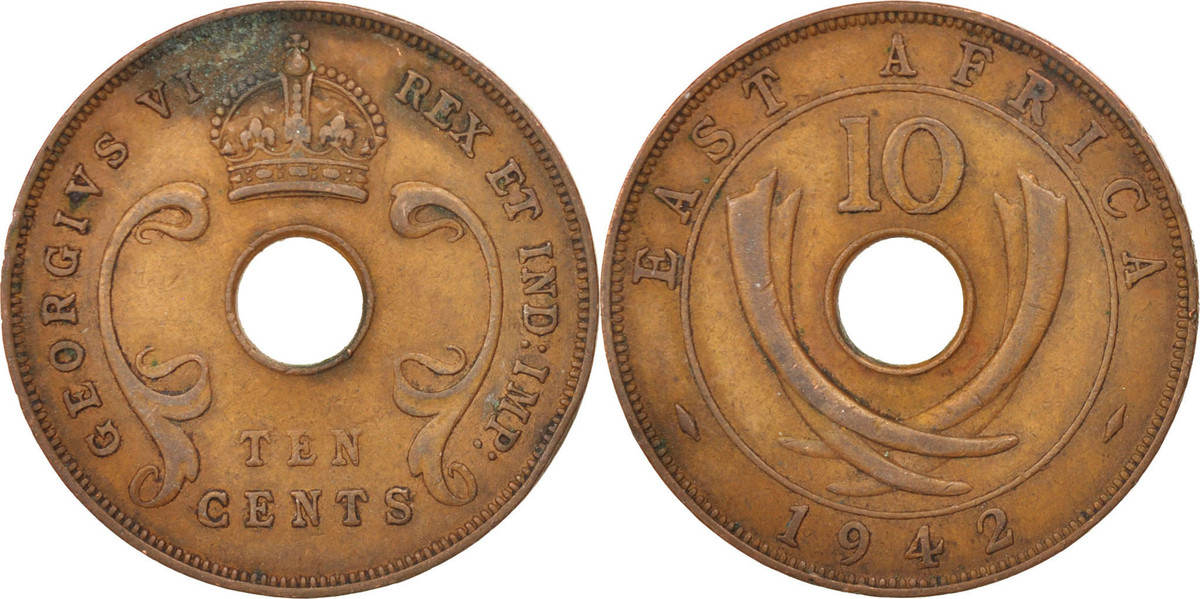 10 Cents 1942 EAST AFRICA George VI EF(40-45)