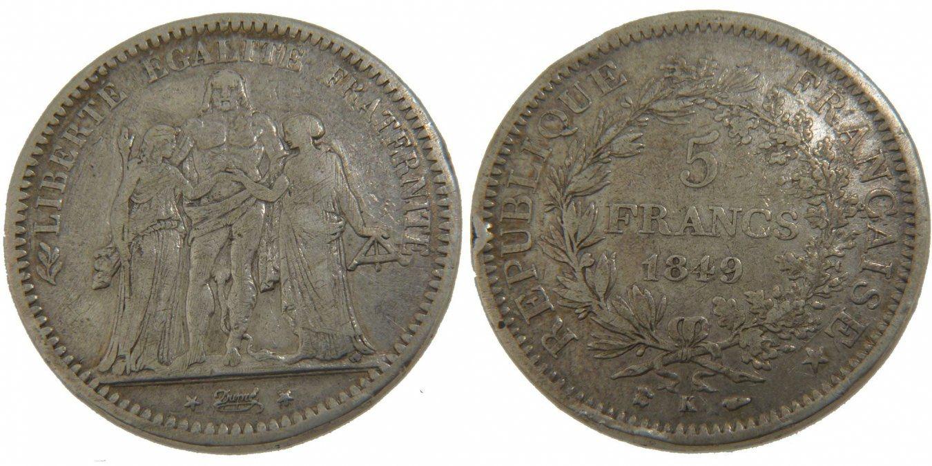 5 Francs 1849 K Frankreich Hercule VF(30-35)
