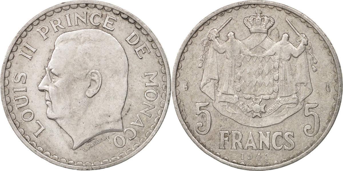 5 Francs 1945 Monaco Louis II EF(40-45)