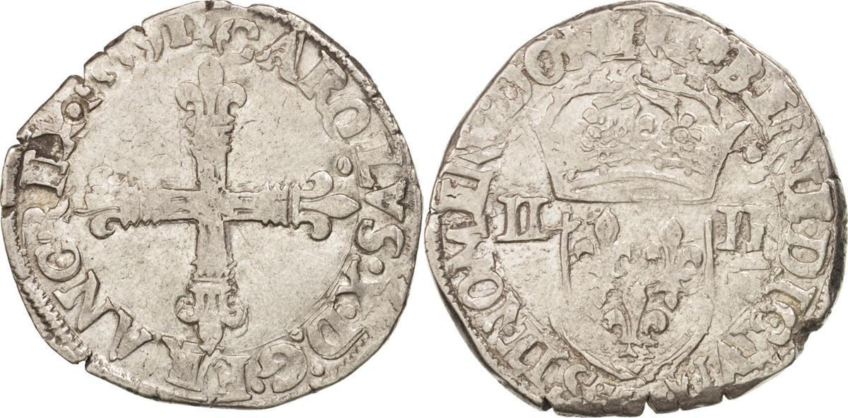 1/4 Ecu 1591 Nantes Frankreich Charles X VF(30-35)