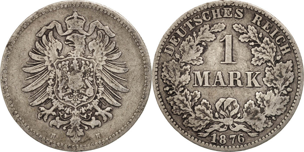 Mark 1876 H GERMANY - EMPIRE Wilhelm I VF(30-35)