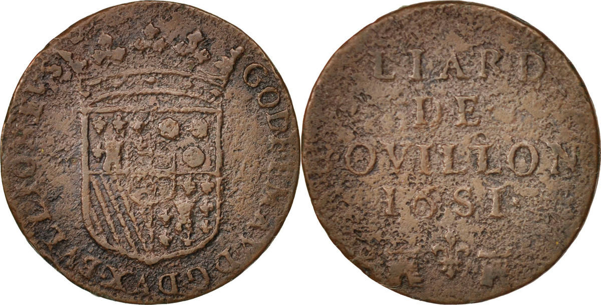 Liard 1681 Bouillon FRENCH STATES VF(20-25)