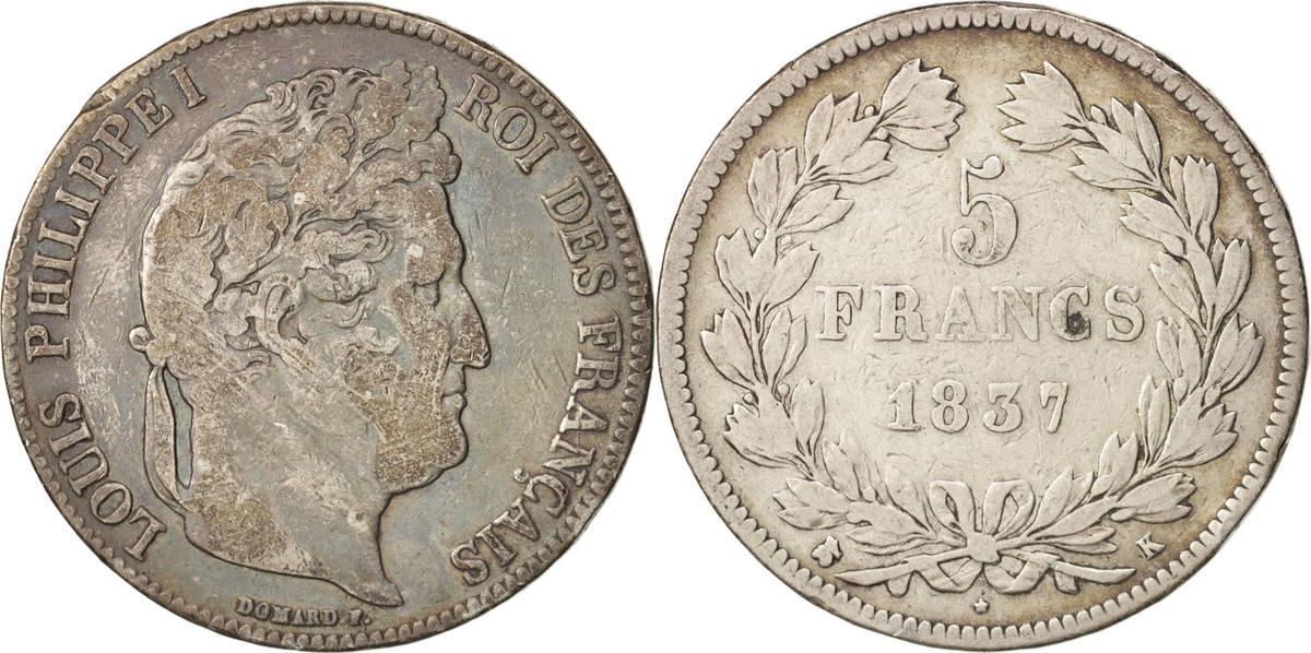 5 Francs 1837 K Frankreich Louis-Philippe VF(20-25)