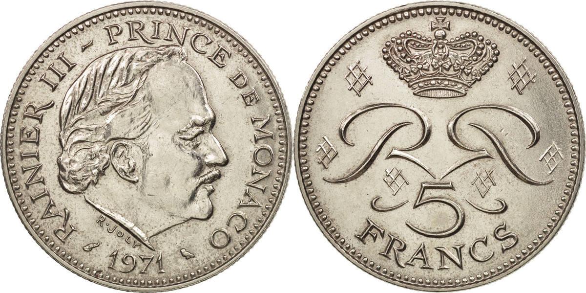 5 Francs 1971 Monaco Rainier III, Copper-nickel, KM:150 MS(64)