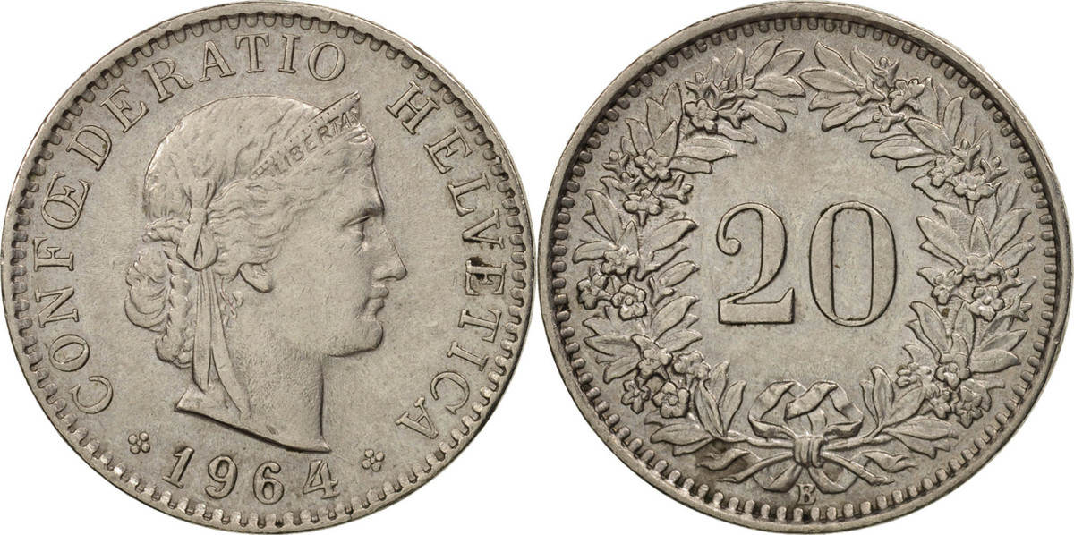 20 Rappen 1964 B Schweiz Bern, Copper-nickel, KM:29a VZ