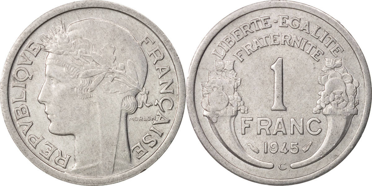 Franc 1945 C Frankreich Morlon, Castelsarrasin, SS+, Aluminium, KM:885a.3 SS+