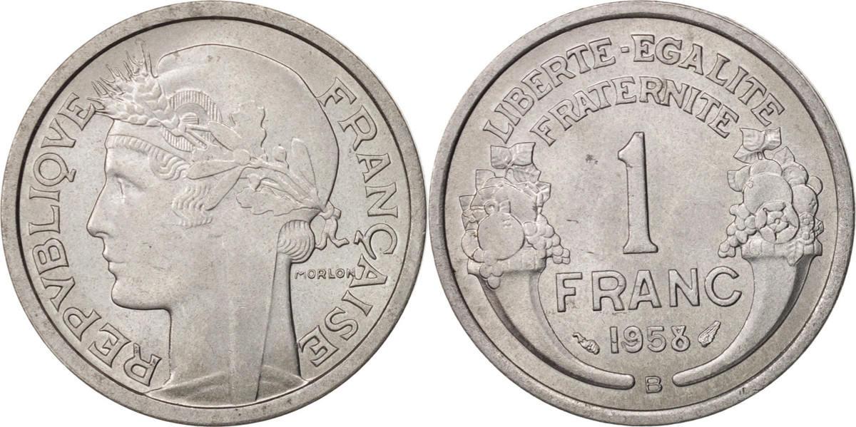 Franc 1958 B Frankreich Morlon, Beaumont le Roger, VZ+, Aluminium, KM:885a.2 VZ+
