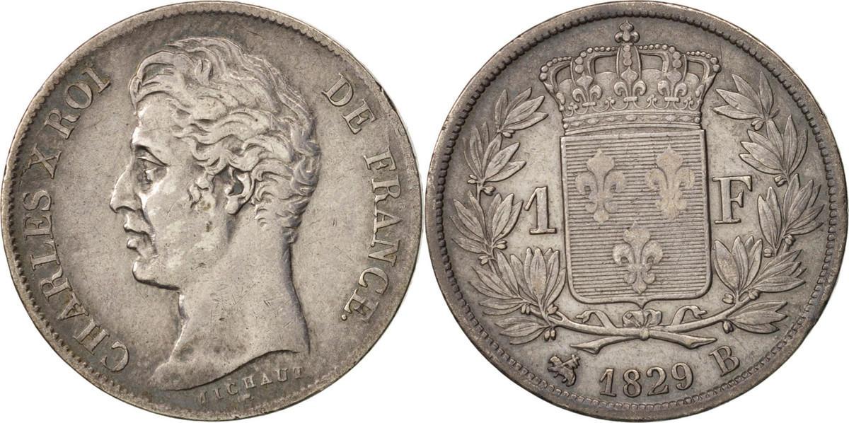 Franc 1829 B Frankreich Charles X, Rouen, SS, Silber, KM:724.2, Gadoury:450 SS