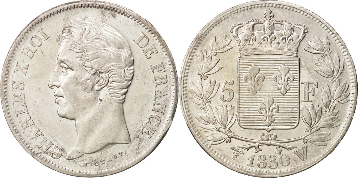 5 Francs 1830 W Frankreich Charles X, Lille, SS+, Silber, KM:728.13 SS+