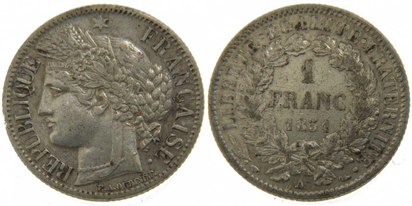 Franc 1851 A Frankreich Cérès AU(50-53)