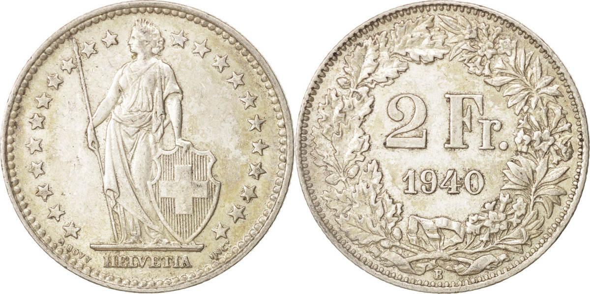 2 Francs 1940 B Schweiz Bern, SS+, Silber, KM:21 SS+