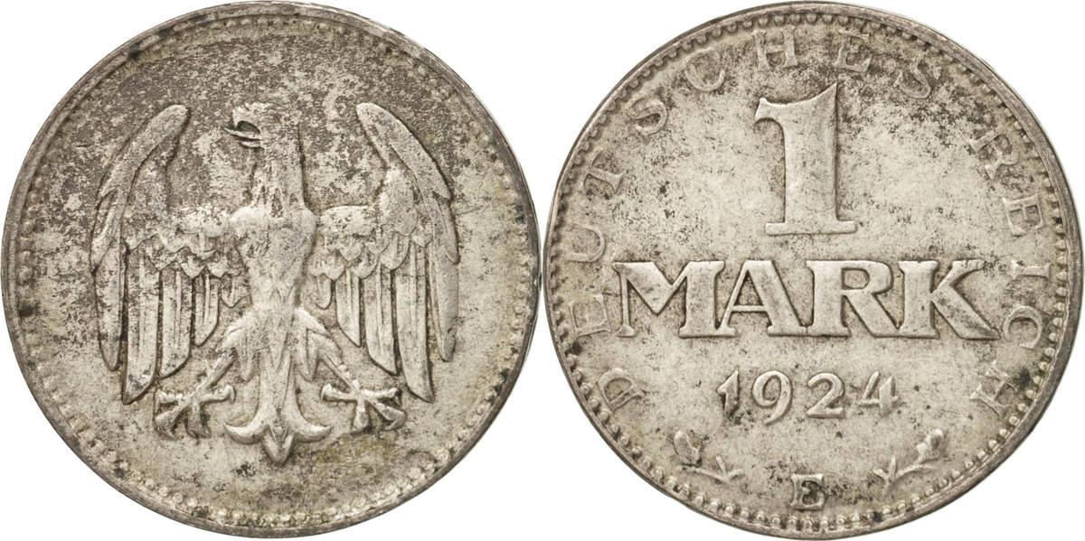 Mark 1924 E Deutschland, Weimarer Republik Muldenhütten, SS, Silber, KM:42 SS