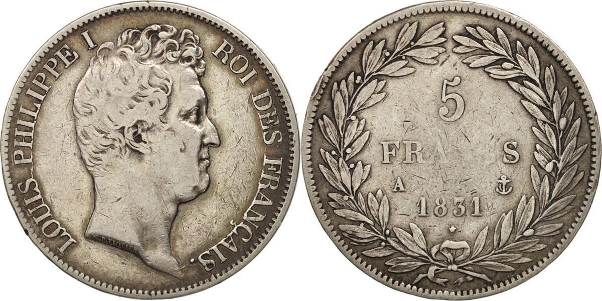 5 Francs 1831 A Frankreich Louis-Philippe, Paris, S, Silber, KM:735.1 S