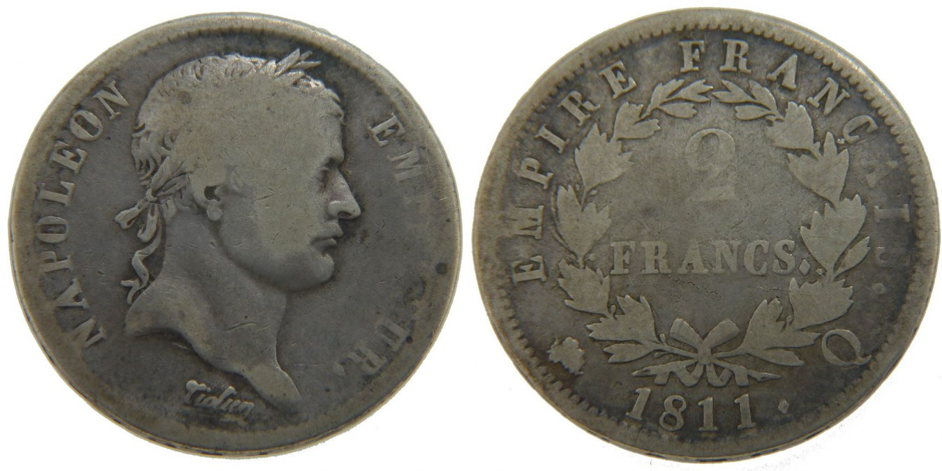 2 Francs 1811 Q Frankreich Napoléon I VG(8-10)