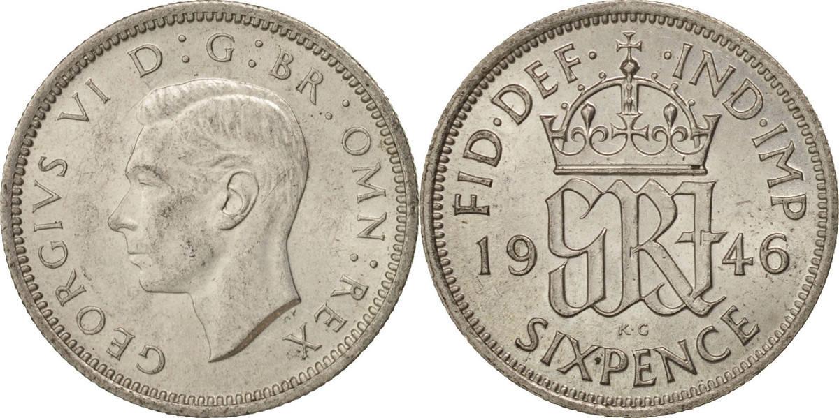 6 Pence 1946 Großbritannien George VI, UNZ+, Silber, KM:852 UNZ+