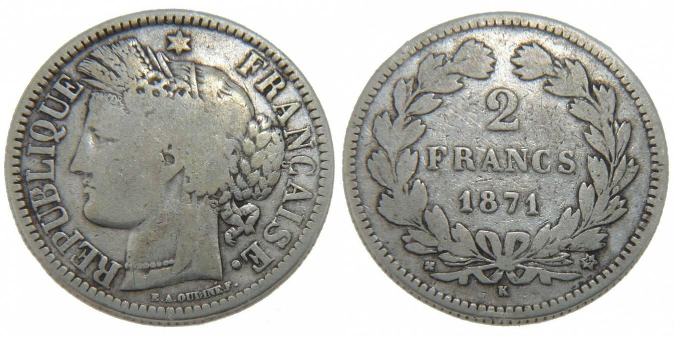 2 Francs 1871 K Frankreich Cérès VF(20-25)