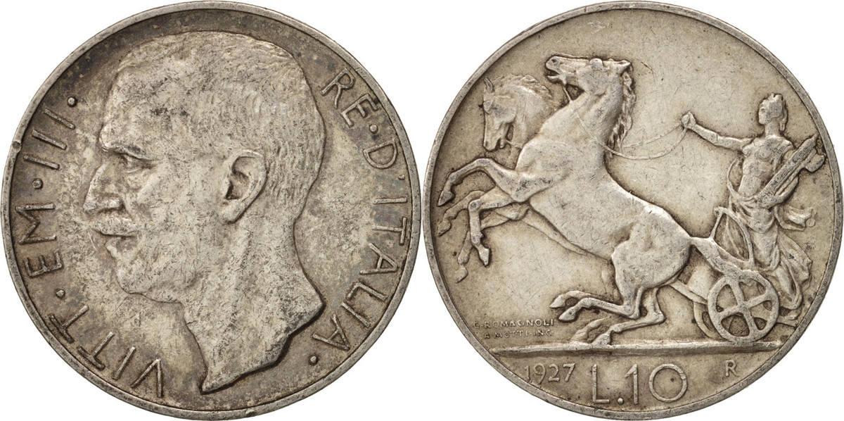 10 Lire 1927 R Italien Vittorio Emanuele III, Rome, SS+, Silber, KM:68.2 SS+