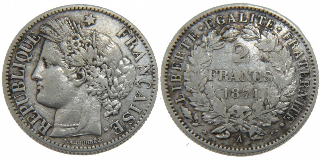 2 Francs 1871 A Frankreich Cérès EF(40-45)