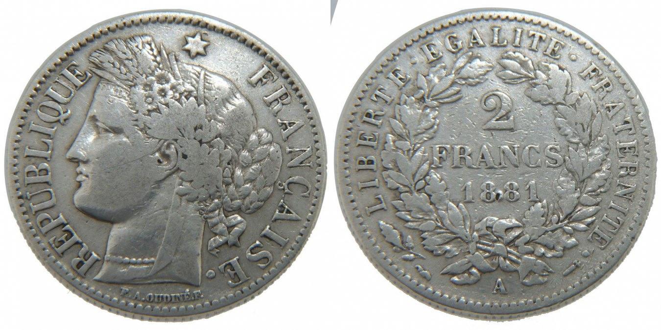 2 Francs 1881 A Frankreich Cérès EF(40-45)