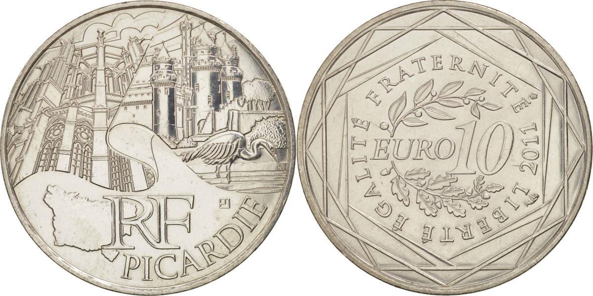 10 Euro 2011 Paris Frankreich 10 Euro Picardie, UNZ+, Silber, KM:1747 UNZ+