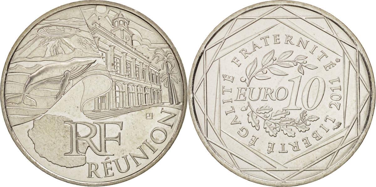 10 Euro 2011 Paris Frankreich 10 Euro Réunion, STGL, Silber, KM:1750 STGL