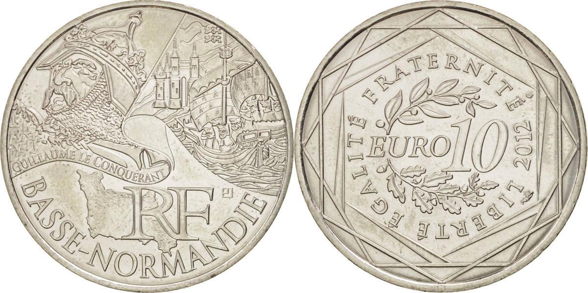 10 Euro 2012 (a) Frankreich 10 Euro Basse-Normandie, UNZ+, Silber, KM:1865 UNZ+