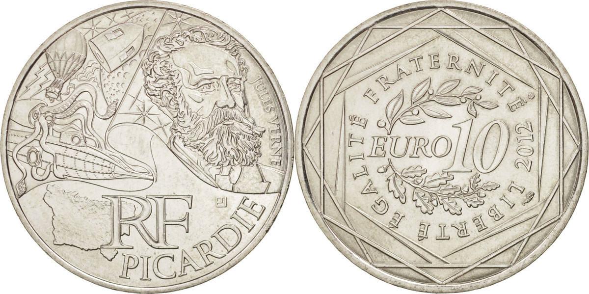 10 Euro 2012 (a) Frankreich 10 Euro Picardie, UNZ+, Silber, KM:1882 UNZ+